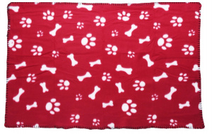 Dogs Collection hondendeken 77 x 55 cm fleece rood