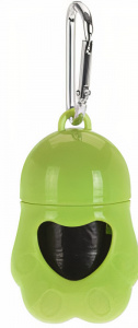 Dogs Collection poop bag holder 7 x 5 cm PP green 20 bags