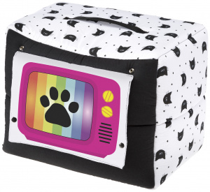 Ferplast cat house television 44 x 32 cm cotton white/black