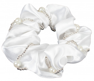 HORKA haarelastiek Scrunchie parels satijn wit