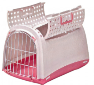 Imac transport box Linus Cabrio cats 50 x 32 cm pink/white
