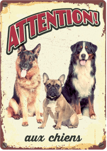 Plenty Gifts waakbord hond Chiens 21 x 14,8 cm staal (FR)