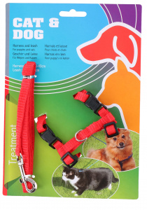 TOM dog/cat harness 30-40 x 120 cm nylon red 2-piece