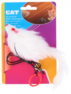 TOM chat souris jouet 7 cm polyester blanc
