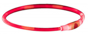 Trixie halsband Flash Light 65 x 0,8 cm rood 2-delig