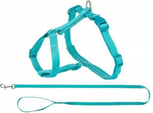 Trixie cat harness with strap Premium 33-57 x 1,3 cm nylon turquoise