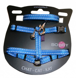 VDM cat harness 25-38 x 1 meter nylon blue 2-piece