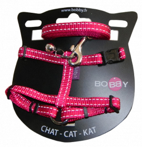 VDM cat harness 25-38 x 1 meter nylon fuchsia 2-piece