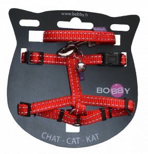 VDM cat harness 25-38 x 1 meter nylon red 2-piece